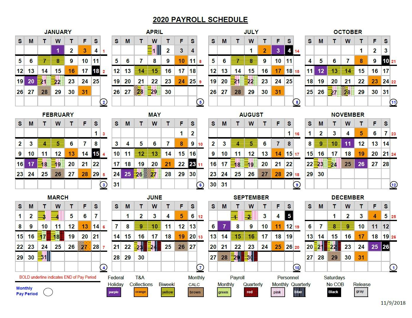 2020 Pay Periods Calendar Within Federal Payroll Calendar 2020