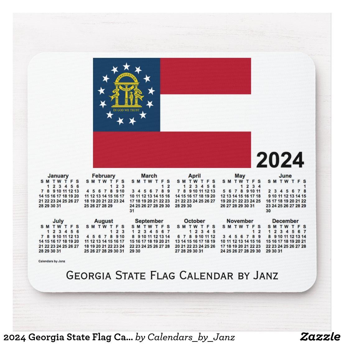 2024 Georgia State Flag Calendarjanz Mouse Pad | Zazzle Intended For Gsu Fall 2021 Calendar