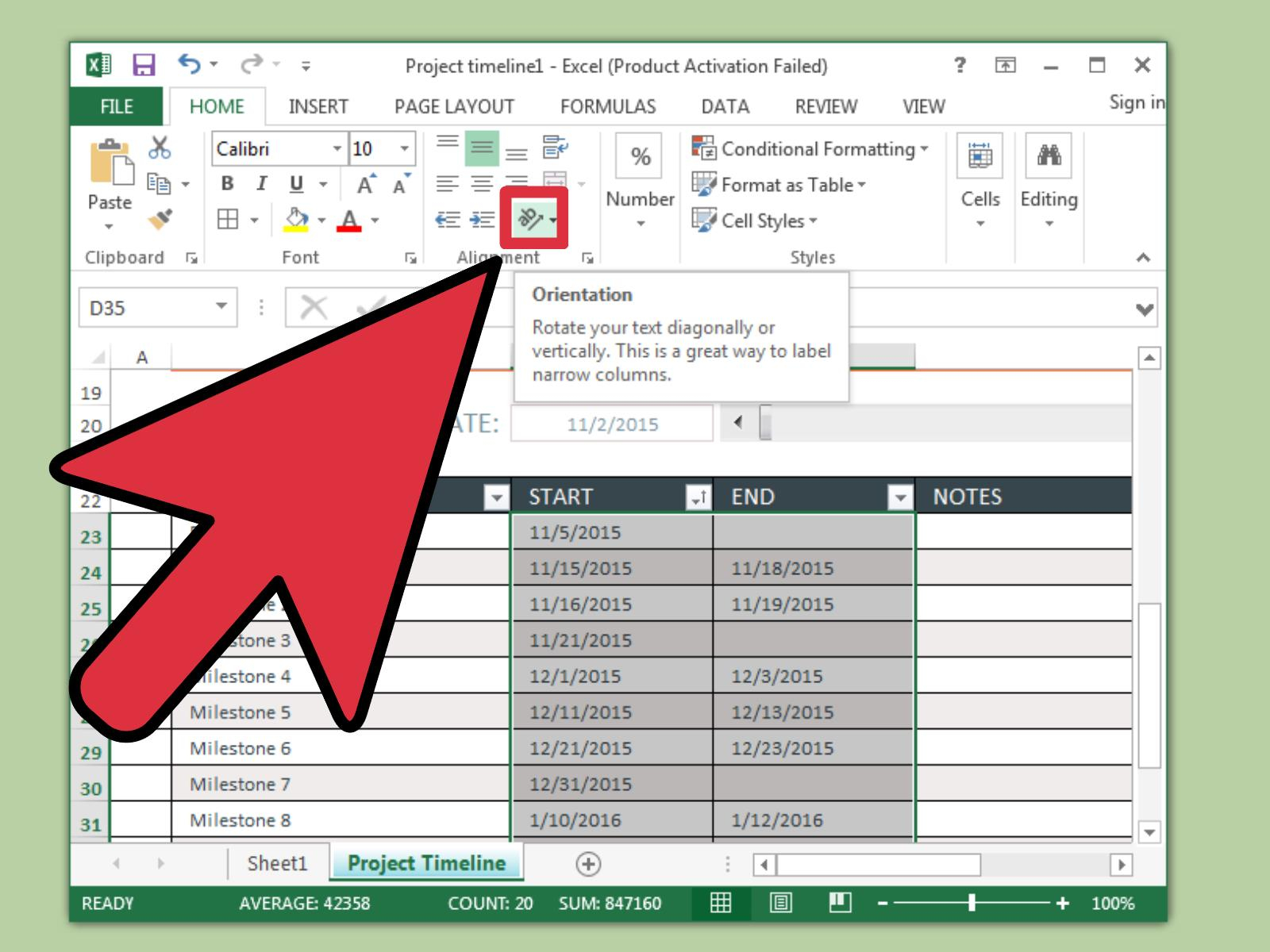 3 Ways To Create A Timeline In Excel – Wikihow Pertaining To Convert Excel Data To Calendar