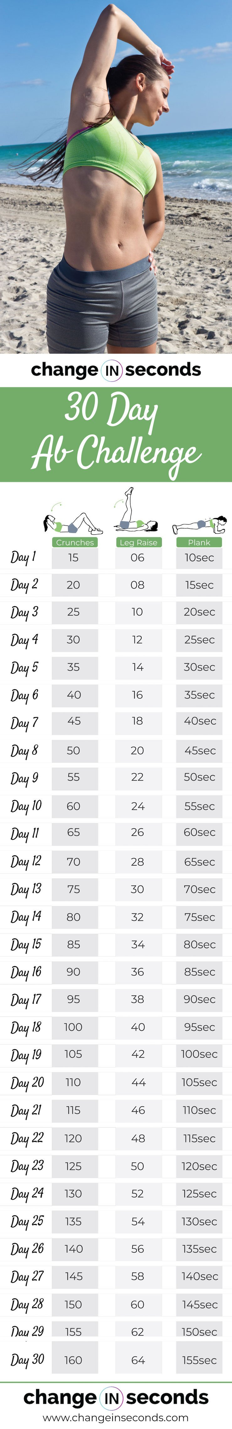 30 Day Ab Challenge For Men & Women For Killer Abs (Download For 30 Day Abs Challenge Printable
