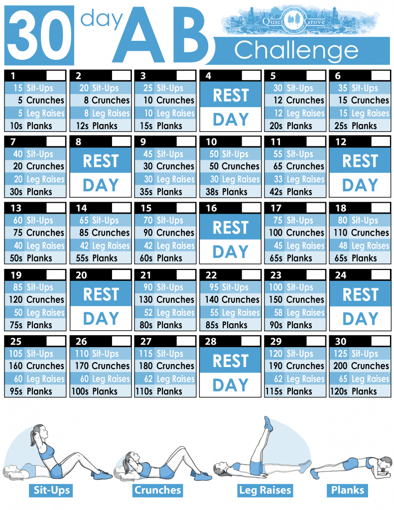 30 Day Ab Challenge (With Free Printable) ⋆ The Quiet Grove Within 30 Day Abs Challenge Printable