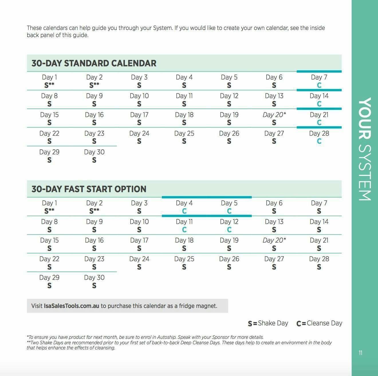 30 Day Calendar | Isagenix, Create Your Own Calendar In Isagenix Shake Day Schedule Printable