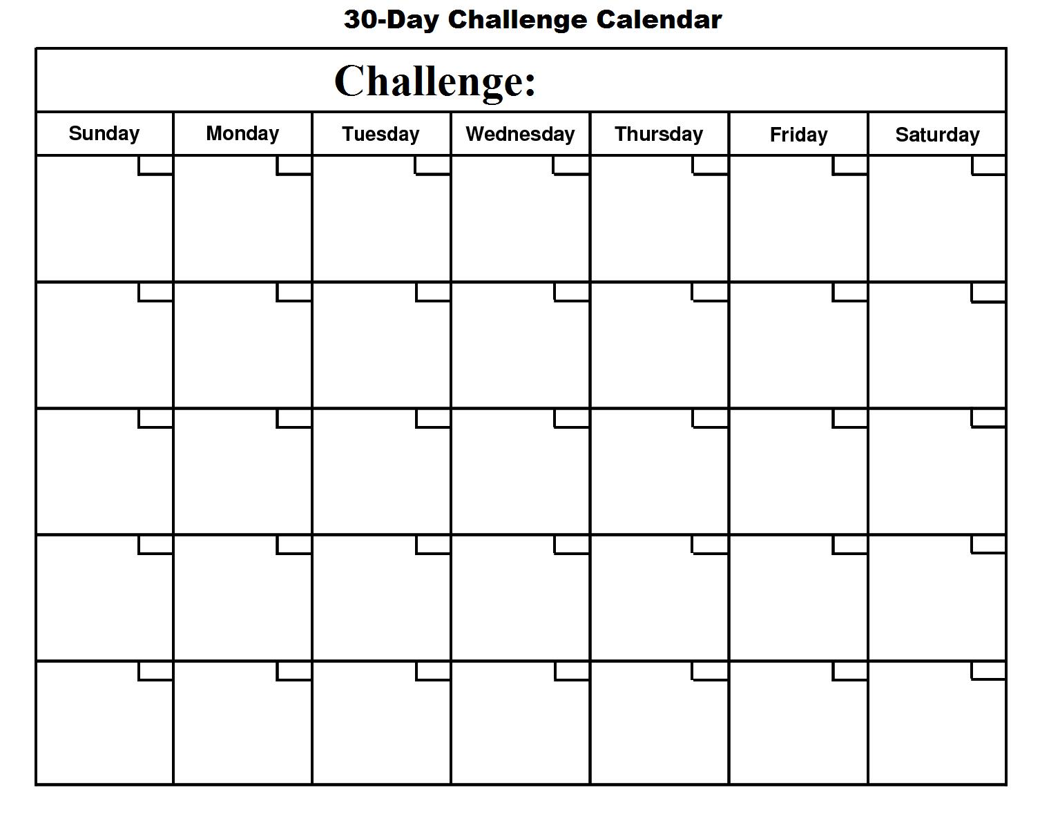 30 Day Challenge Calendar - Basic Growth Inside 30 Day Challenge Calendar