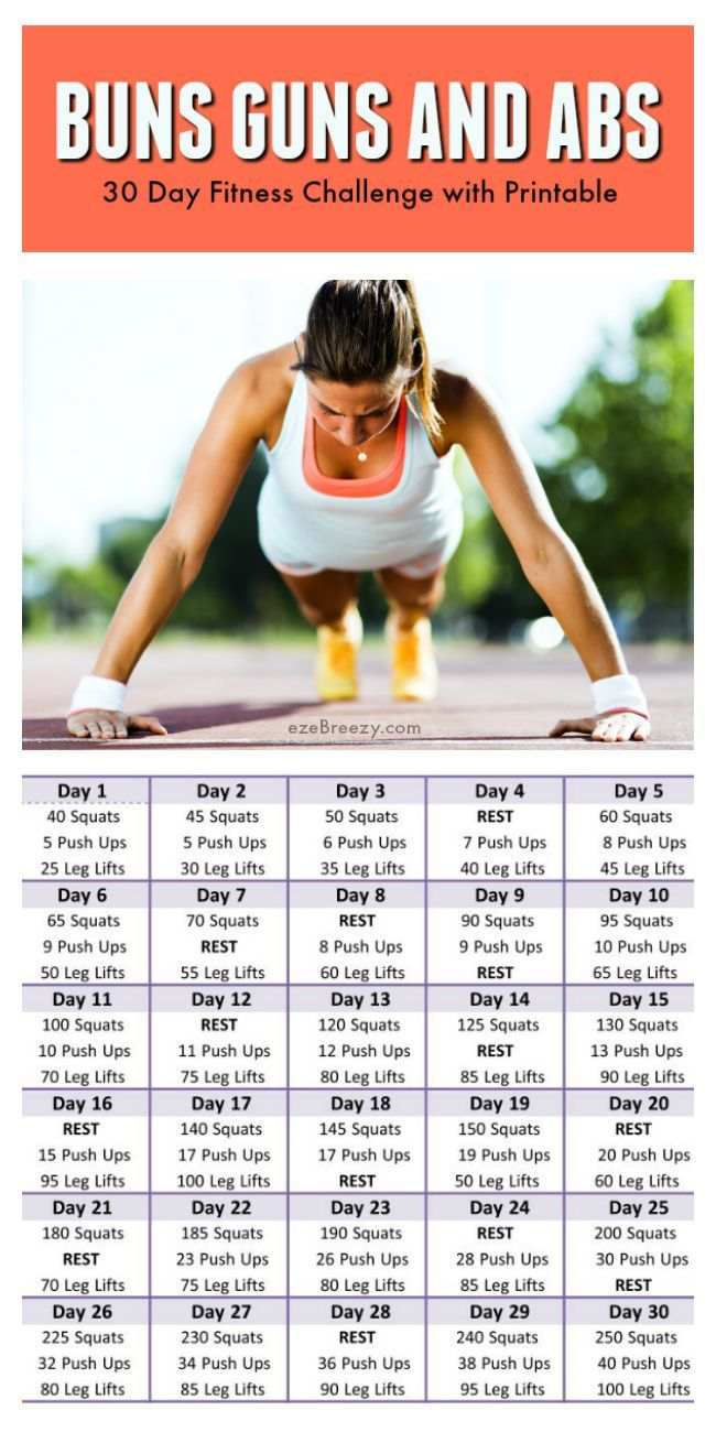 30 Day Fitness Challenge And Printable | 30 Day Workout intended for 30 Day Butt Gut And Leg Challenge Printable