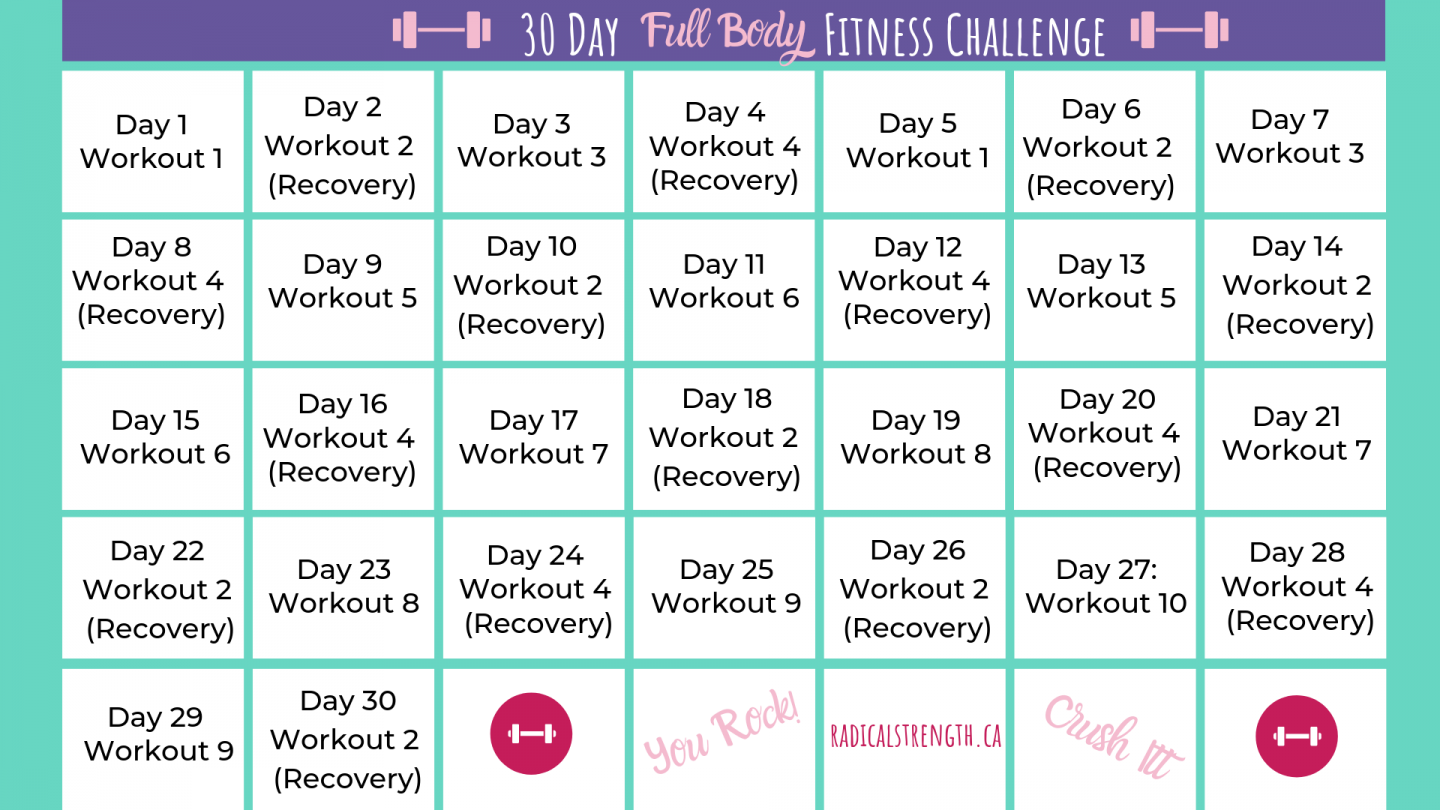 30 Day Fitness Challenge: Full Body Workout Routines With 30 Days Fitness Calendar