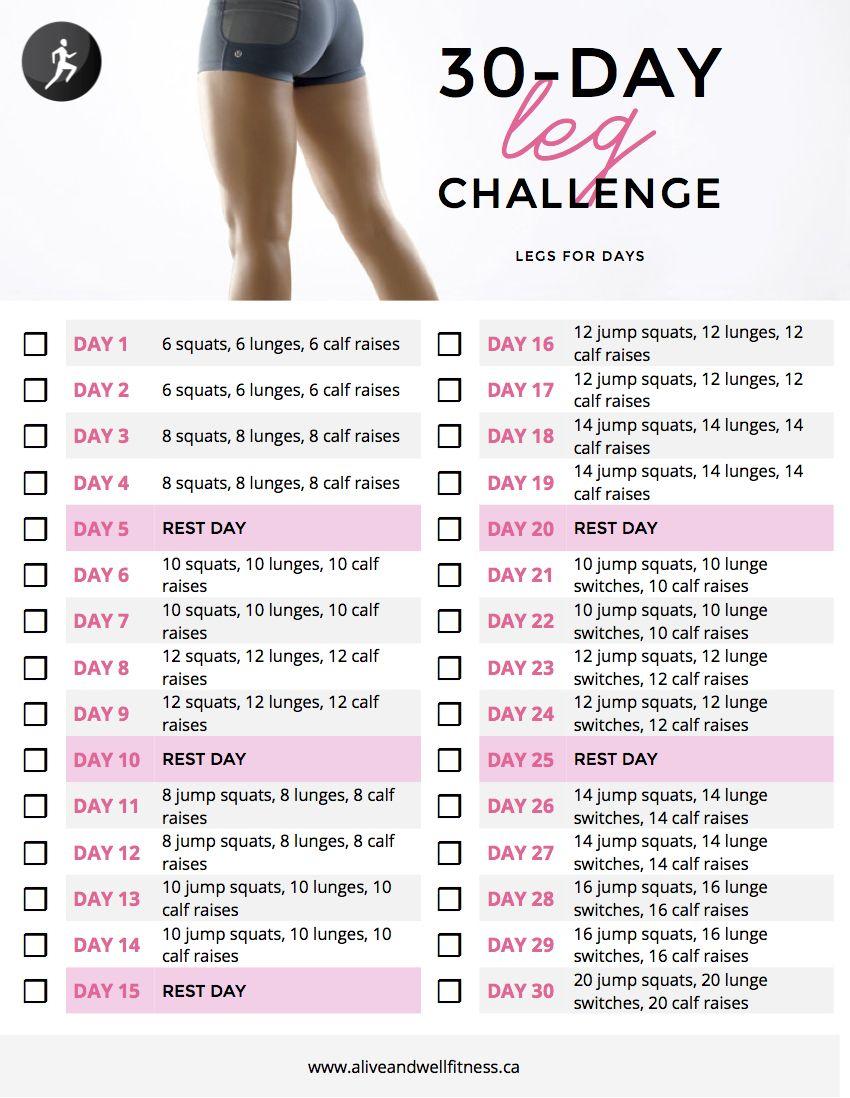 30 Day Leg Challenge | Cardio Challenge, 30 Day Cardio regarding 30 Day Leg Challenge Printable