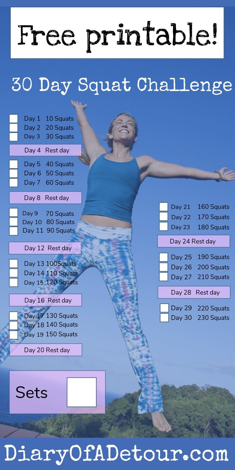 30 Day Squat Challenge : A Fitness Challenge For All Abilities For 30 Day Squate Challenge Printable