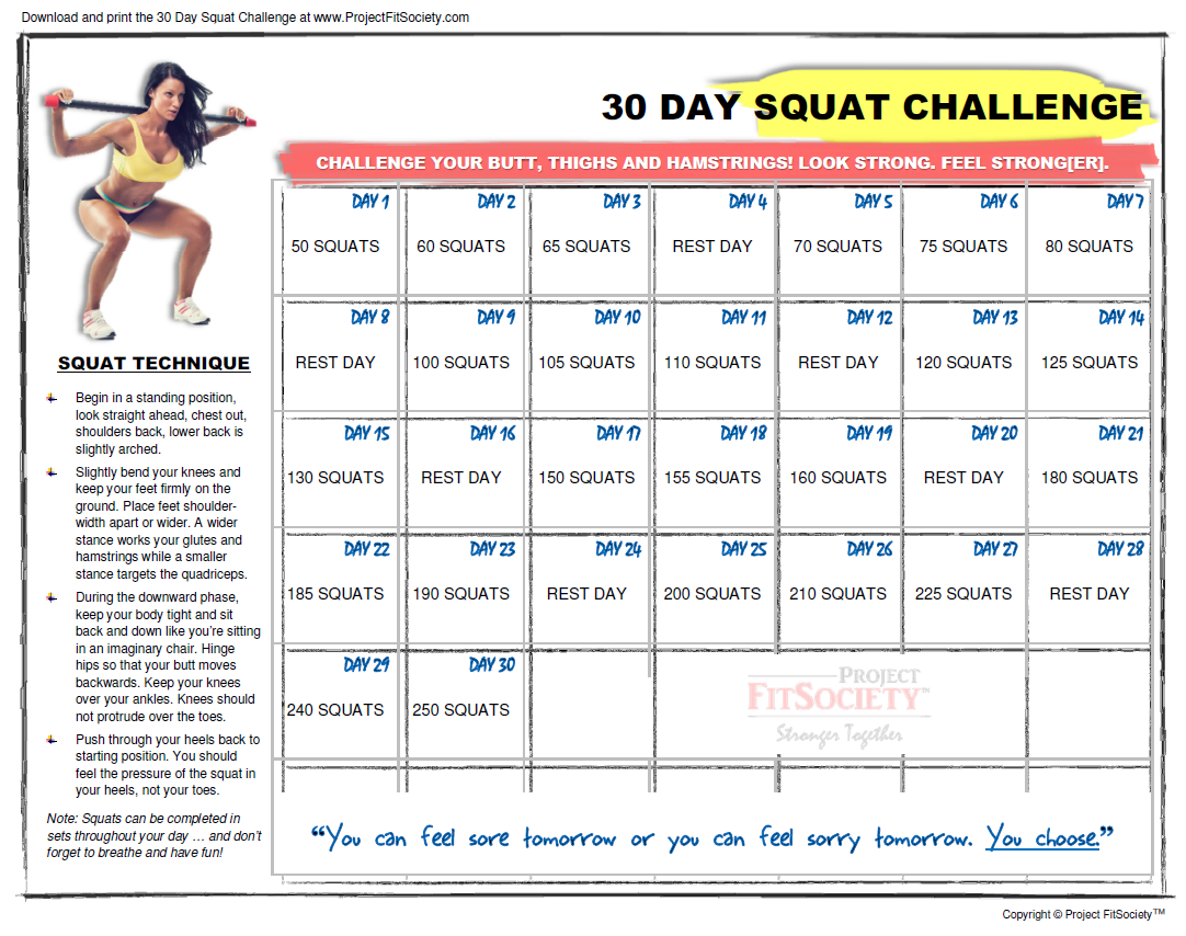 30 Day Squat Challenge Calendar | Click Here To Download The In 30 Days Squat Challenge Calendar