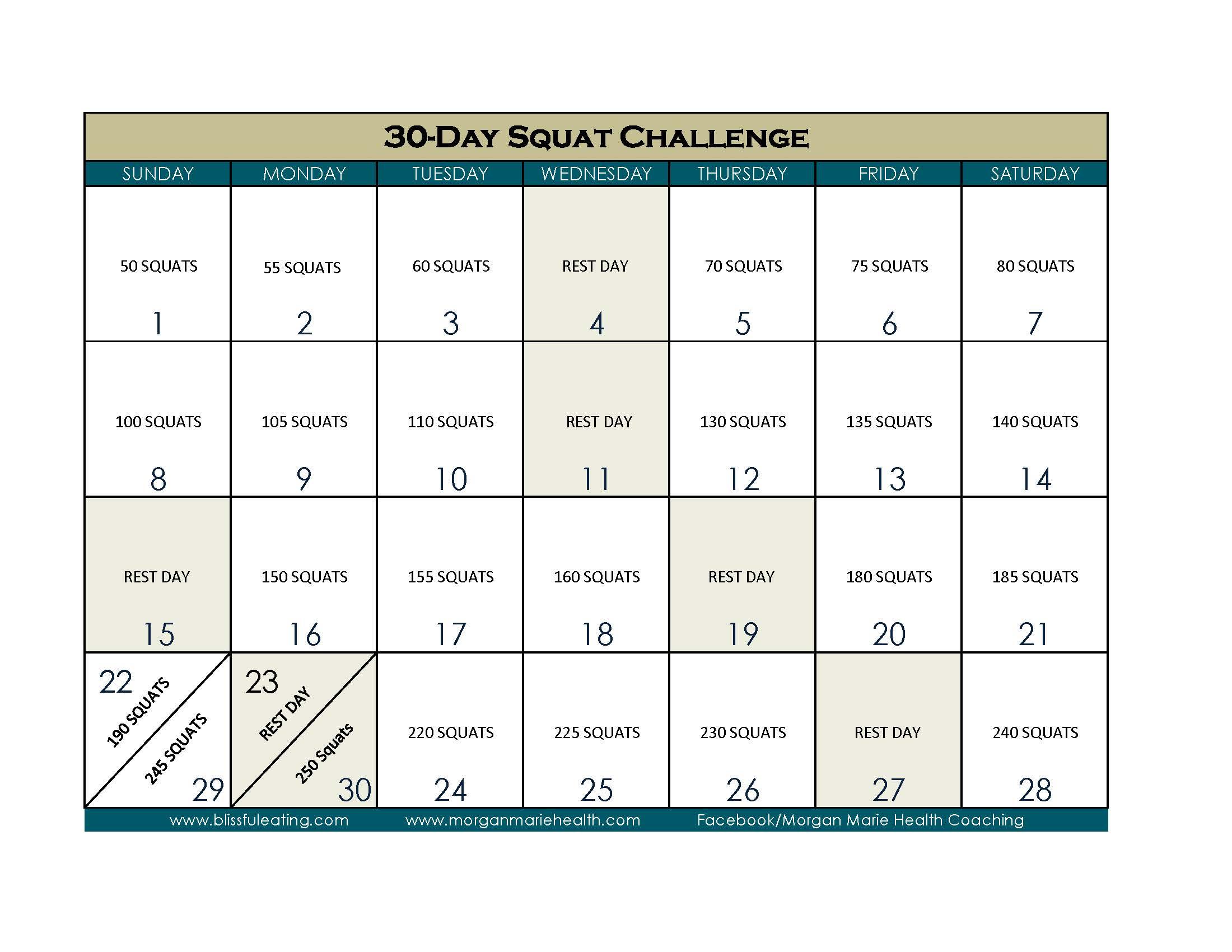 30 Day Squat Challenge Calendar Print Out Intended For 30 Days Squat Challenge Calendar