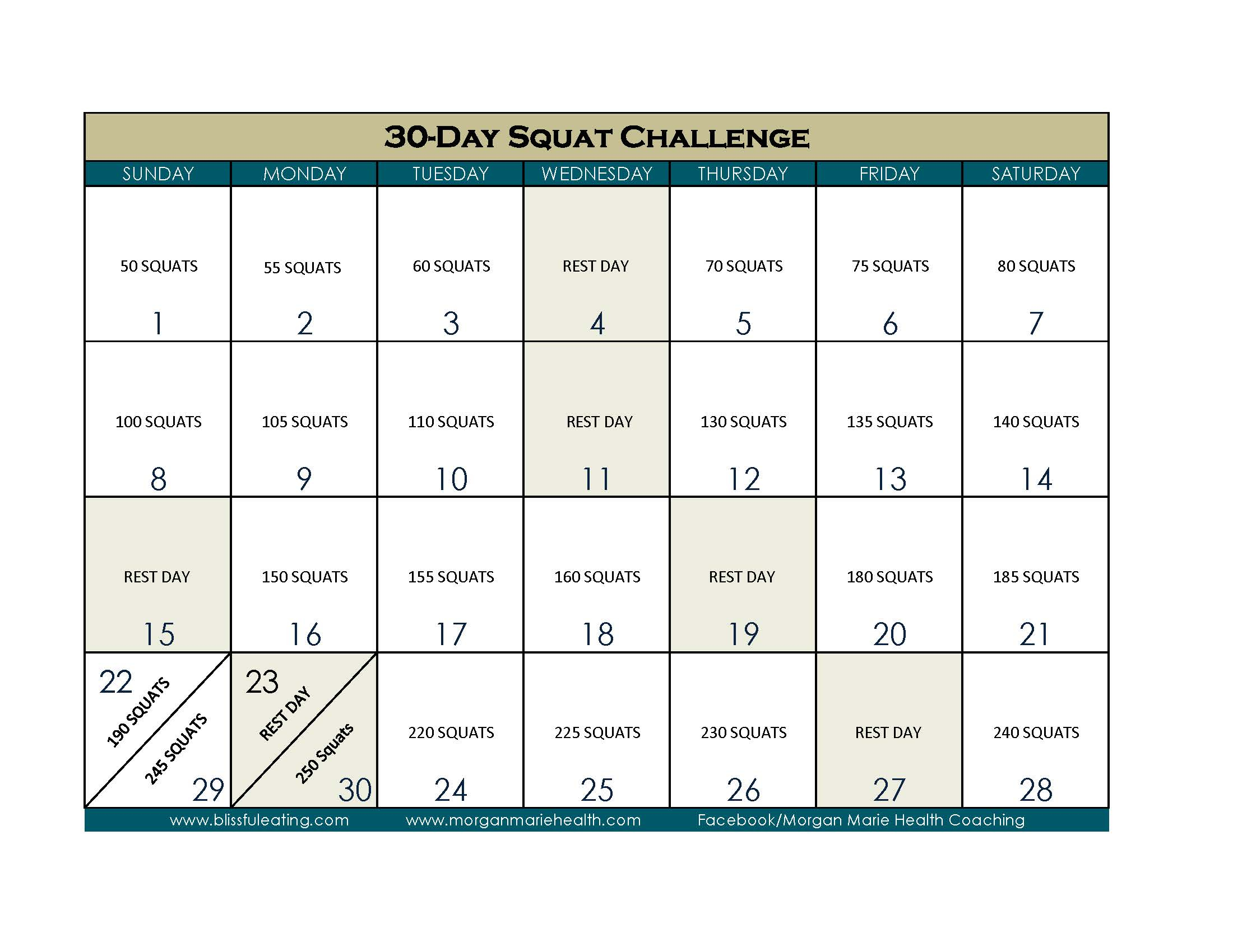 30 Day Squat Challenge Calendar Print Out Within 30 Day Squat Calender
