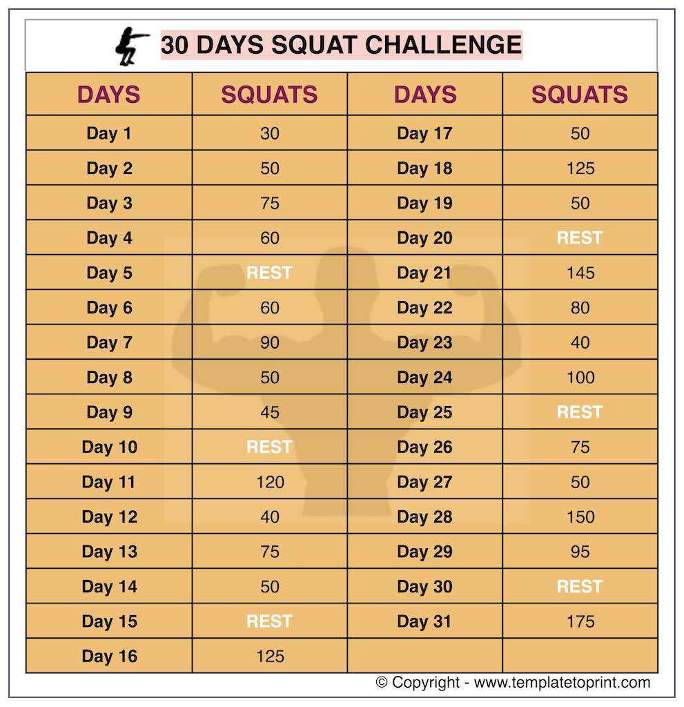 30 Day Squat Challenge Printable Calendar | Squat Workout At For 30 Day Squat Challenge Schedule Calendar
