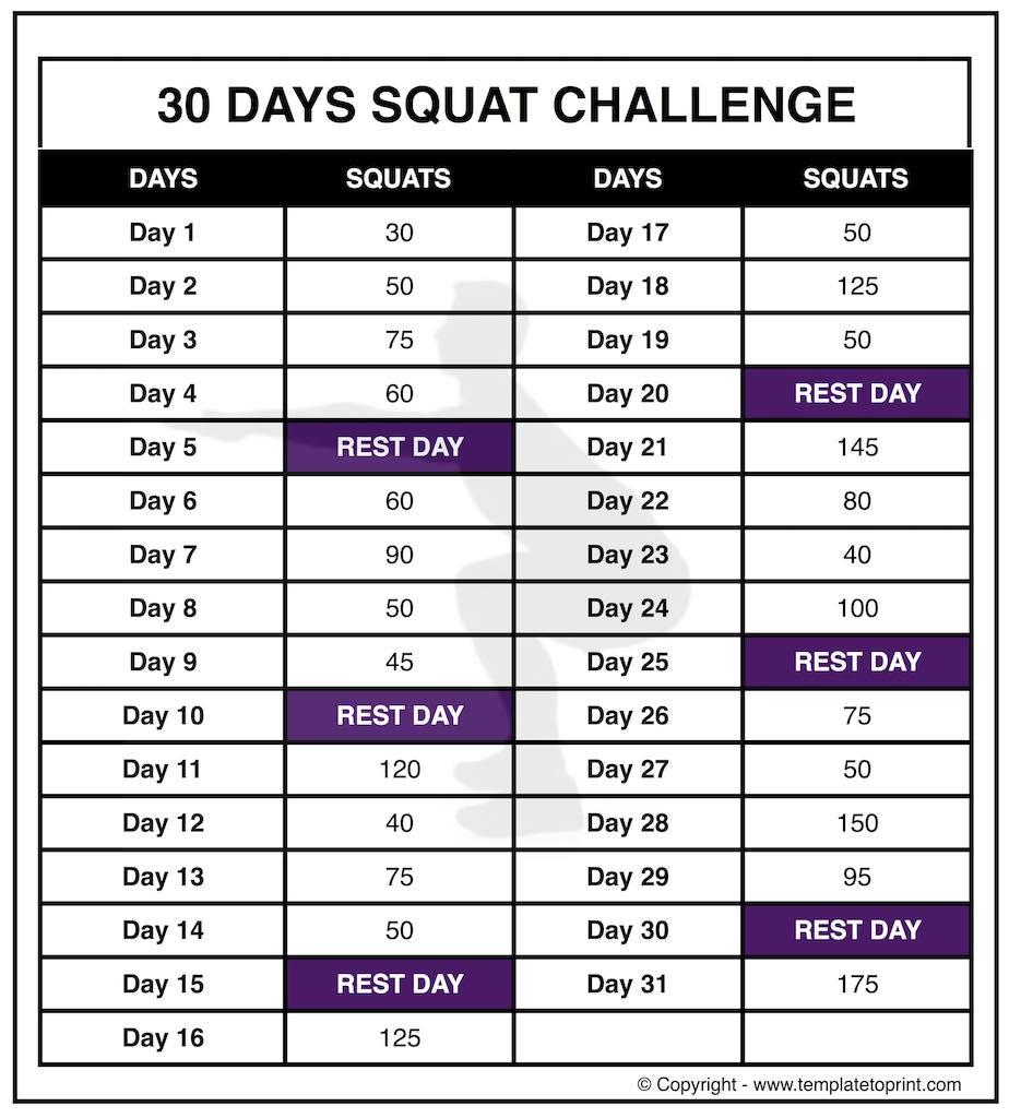 30 Day Squat Challenge Printable Calendar » Template To Print Pertaining To 30 Day Squat Challenge Printable