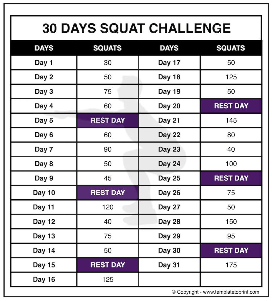 30 Day Squat Challenge Printable Calendar » Template To Print Pertaining To 30 Day Squat Challenge Schedule Calendar