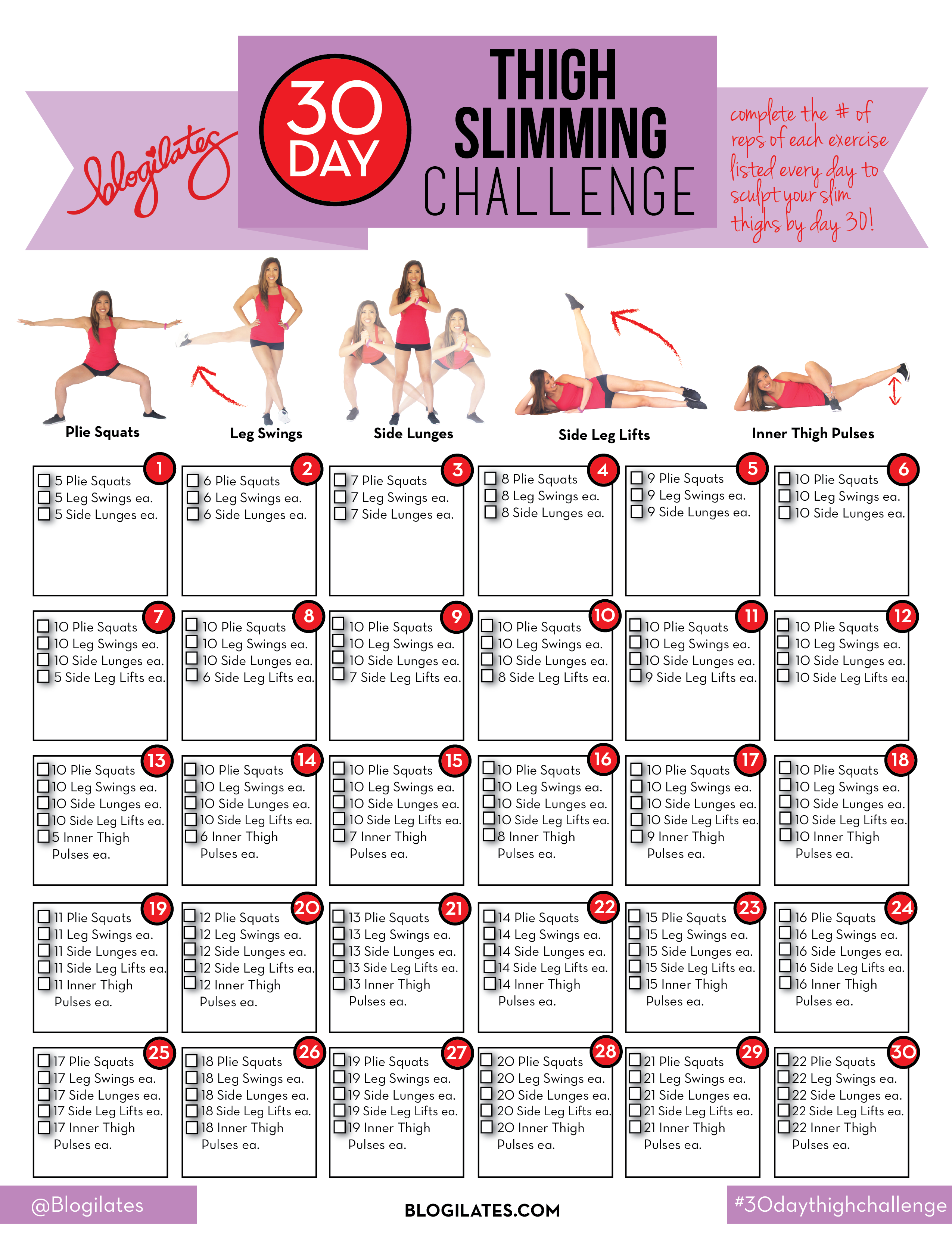 30 Day Thigh Slimming Challenge (С Изображениями) | 30 Throughout 30 Day Leg Challenge Printable