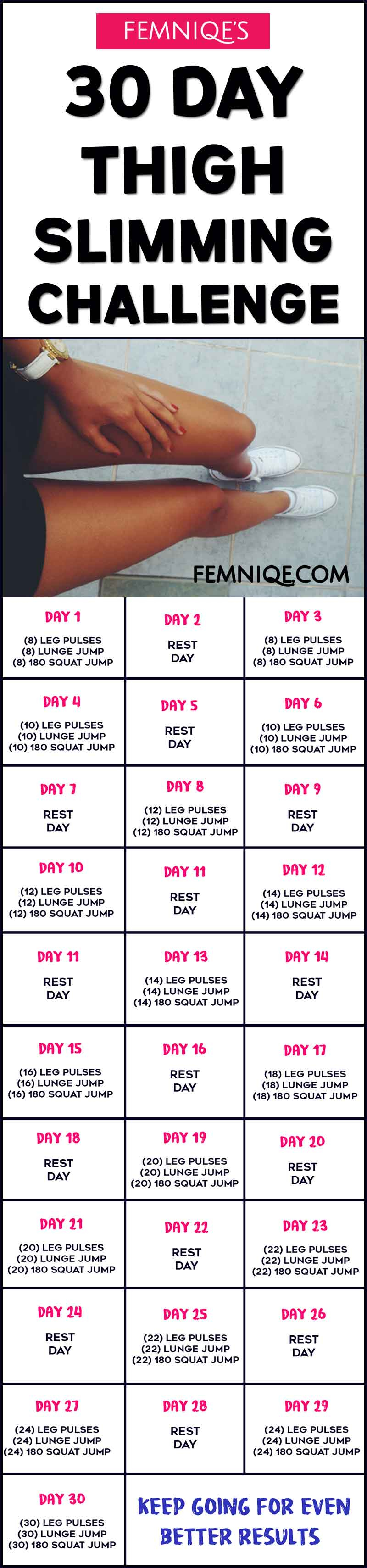 30 Day Thigh Slimming Challenge (Meal Plan Inside) - Femniqe Within 30 Day Leg Challenge Printable