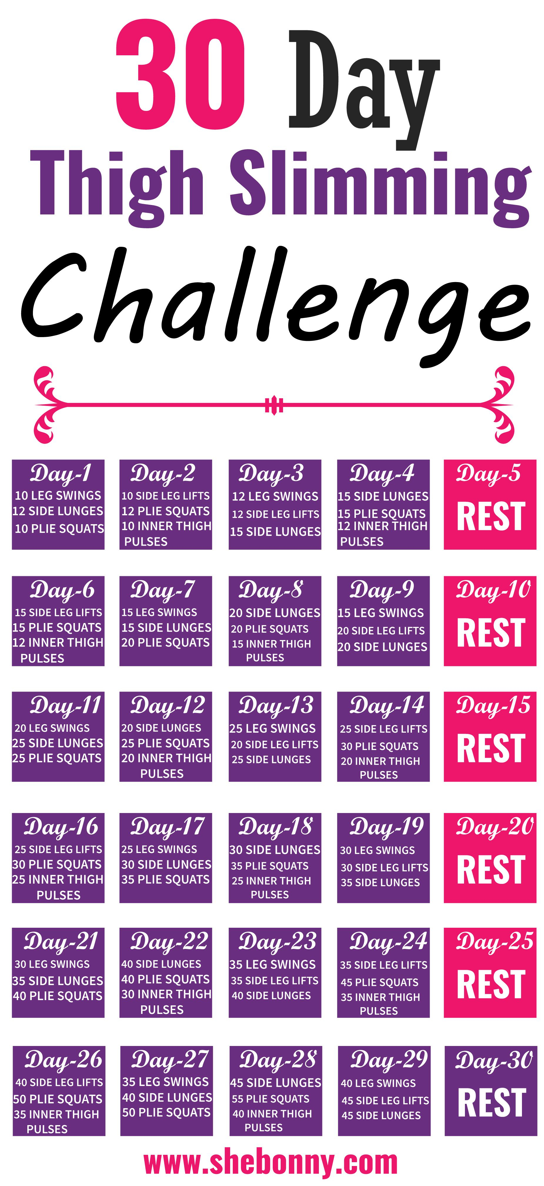 30 Day Thigh Slimming Challenge (With Images) | Challenges Inside 30 Day Inner Thigh Challenge Printable