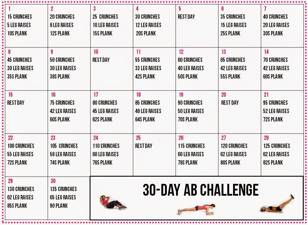 30 Day+Ab+Challenge+Calendar (1069×782) (With Images Intended For 30 Days Fitness Calendar
