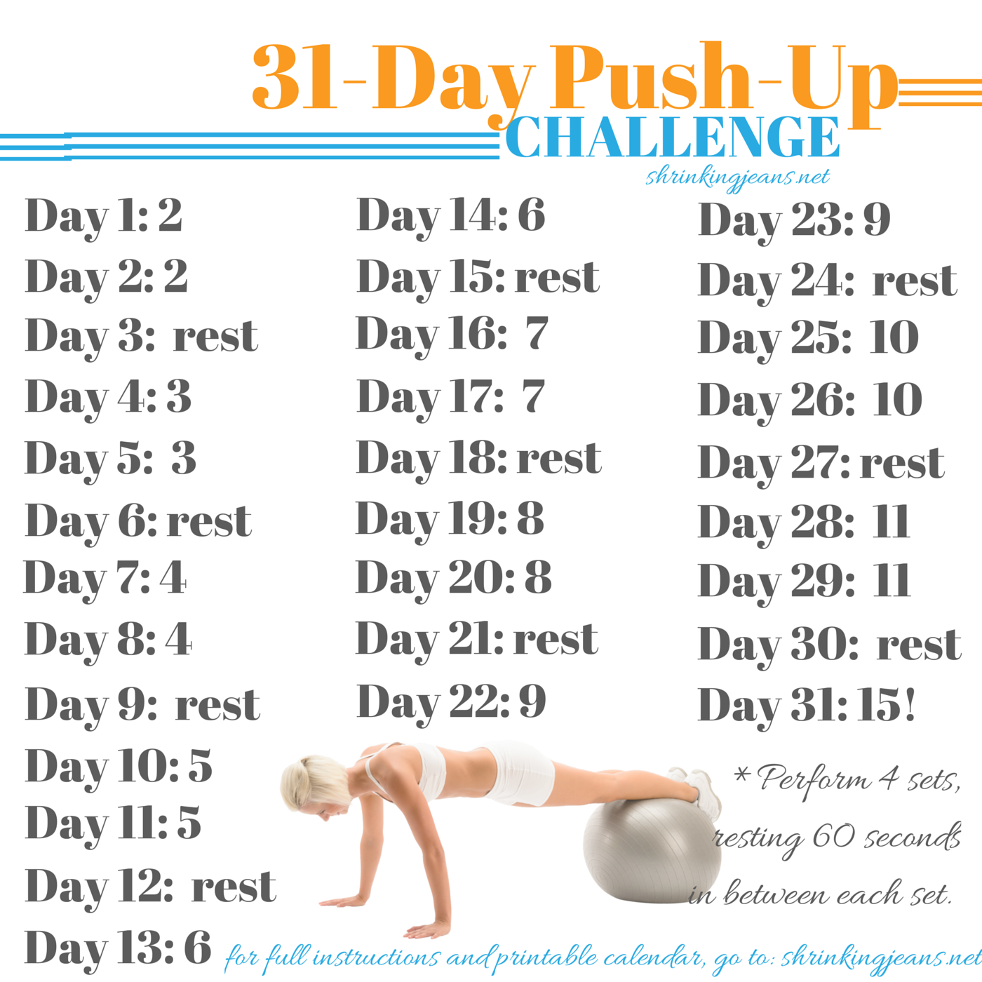 31 Day Push Up Challenge {Monthly Workout Calendar} (With Intended For 30 Day Push Up Challenge Printable Pdf