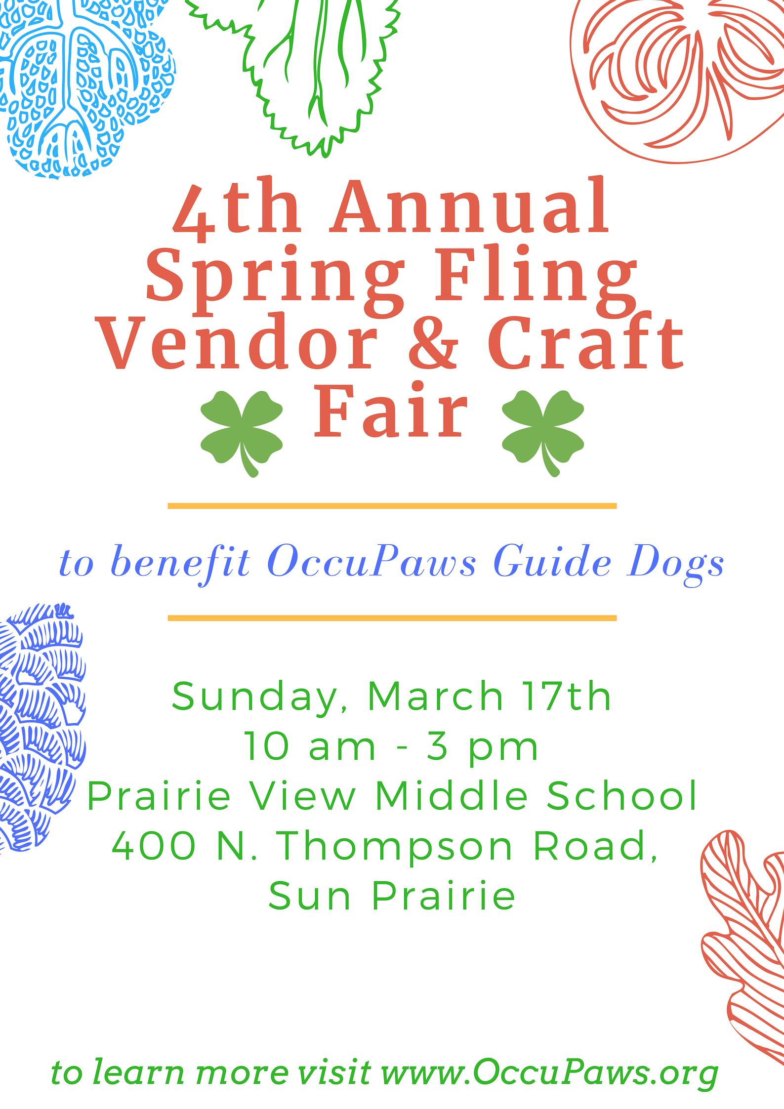 4Th Annual Spring Fling Vendor & Craft Fair For Occupaws With Regard To Sun Prairie Calendar School District