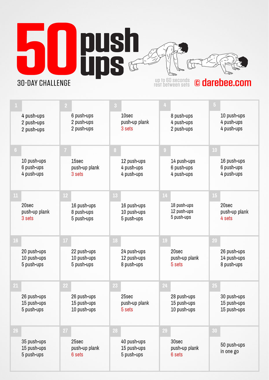 50 Push Ups Challenge Within 30 Day Push Up Challenge Printable Pdf