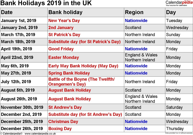 7 Best Uk Holidays 2019 | Bank, School, Public Holidays 2019 With Uri Academic Calendar 2021