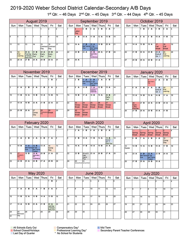 A/b Calendar within Weber County School District Calendar
