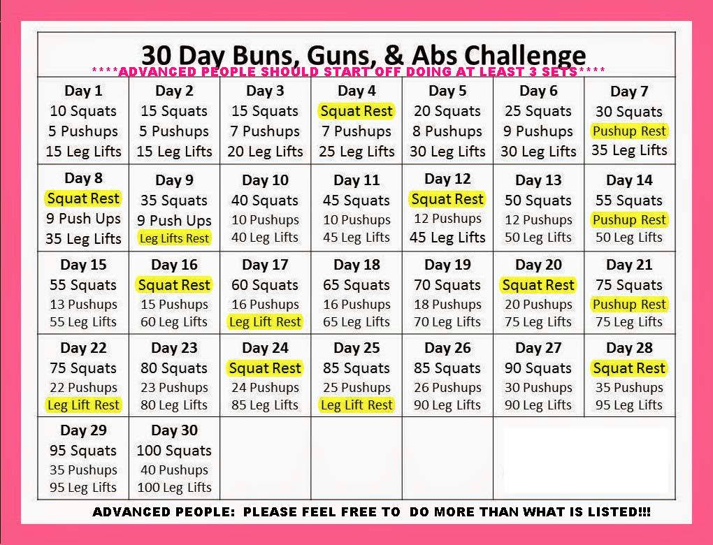 "Abs, Buns And Guns"" – 30 Day Progressive Challenge With Regard To 30 Day Leg Challenge Printable"