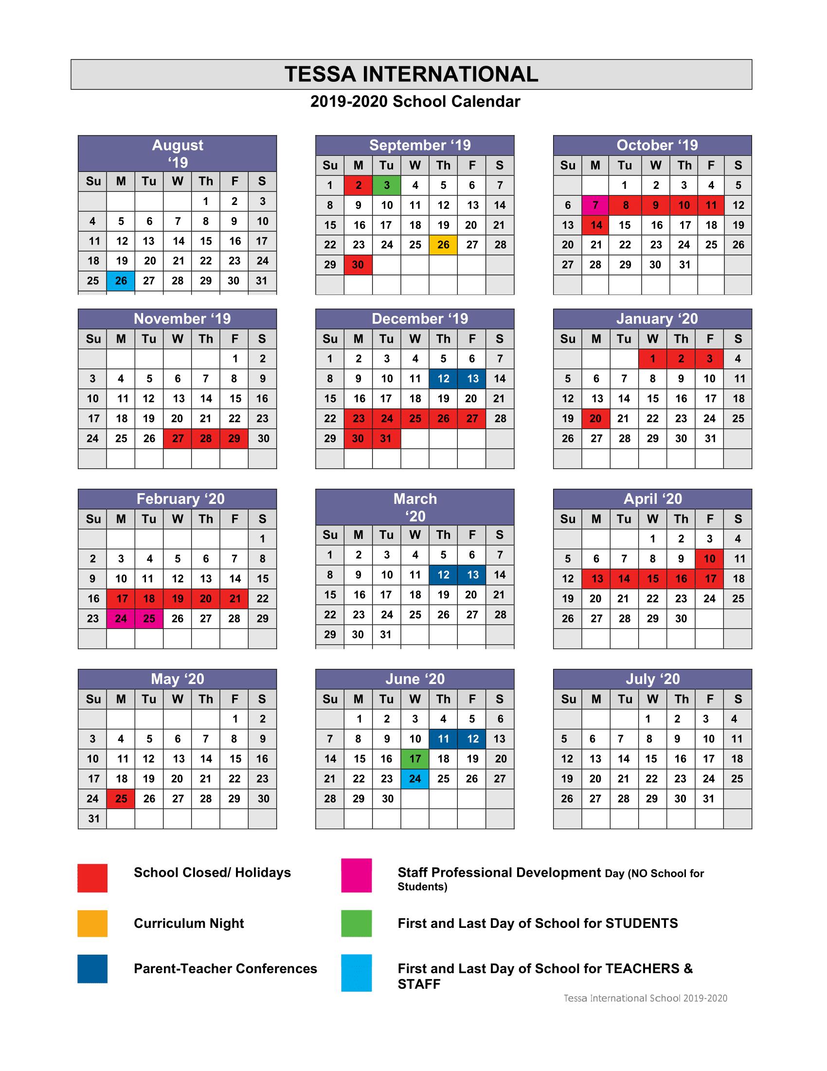 Academic Calendar 2019 2020 – Tessa International School Intended For New Canaan School Calendar