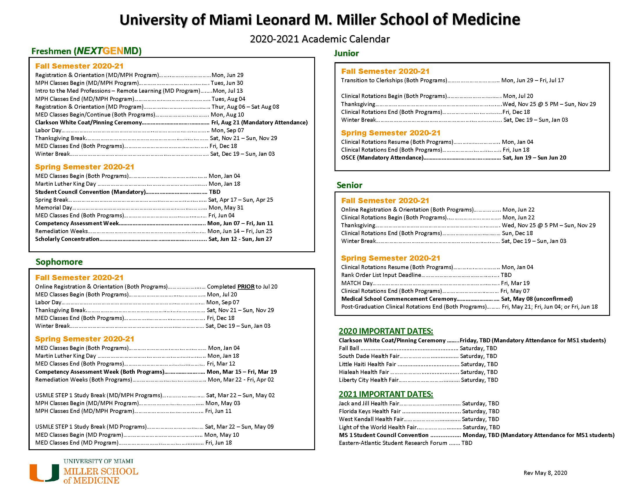 Academic Calendar: 2020 21 – Miller School Of Medicine Throughout Miami Of Ohio Academic Calendar