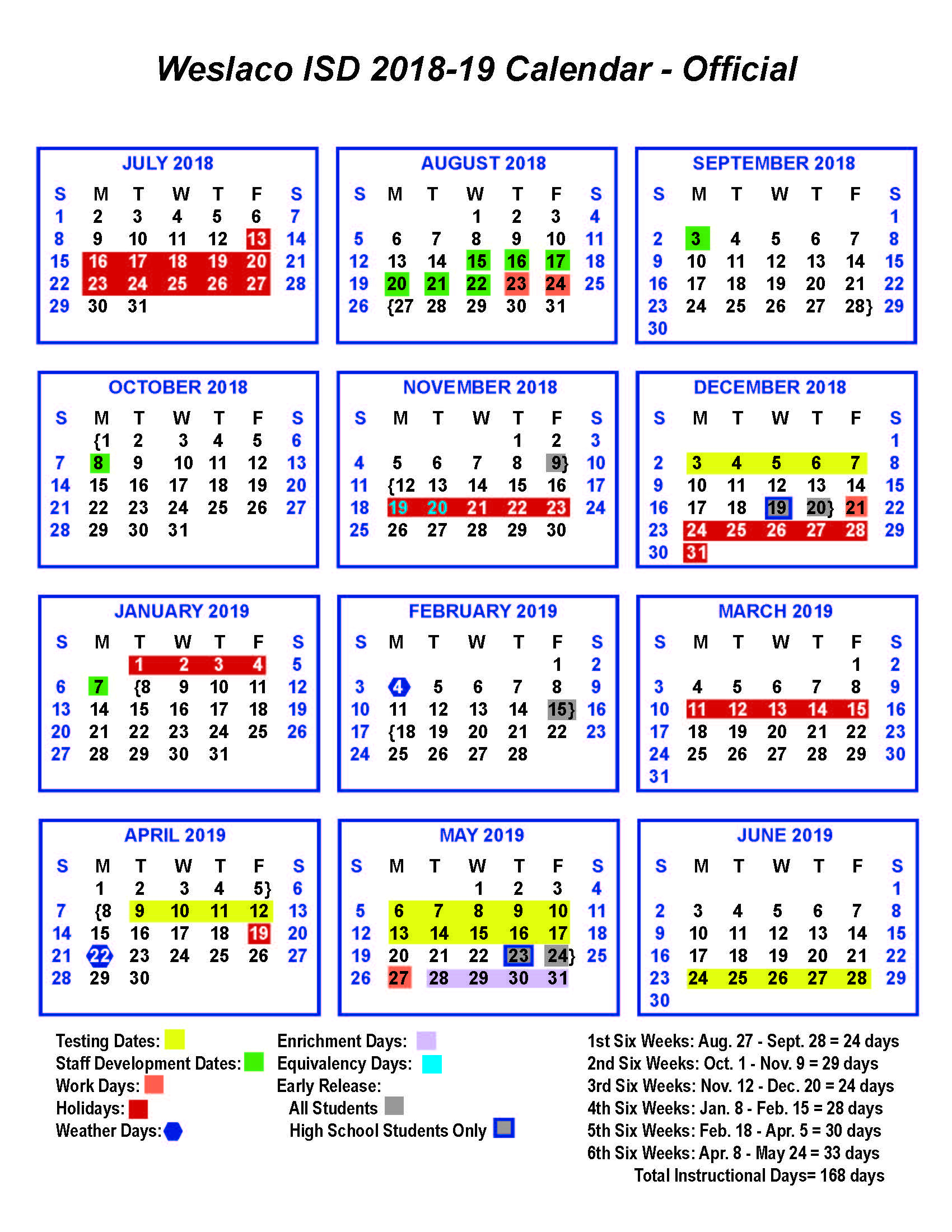 Academic Calendar – Central Middle School With La Joya Independent School District Calendar