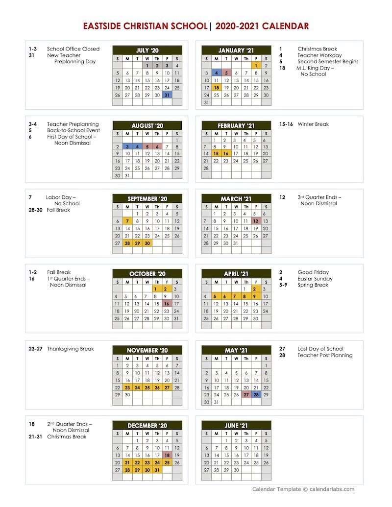 Academic Calendar | Eastside Christian School | East Cobb Inside Georgia State University Calendar 2021 2020
