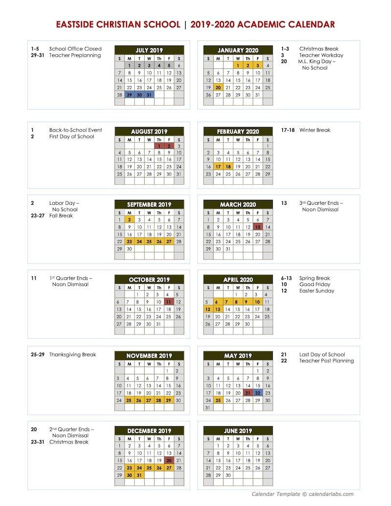 Academic Calendar | Eastside Christian School | East Cobb Pertaining To University Of West Georgia Academic Calendar