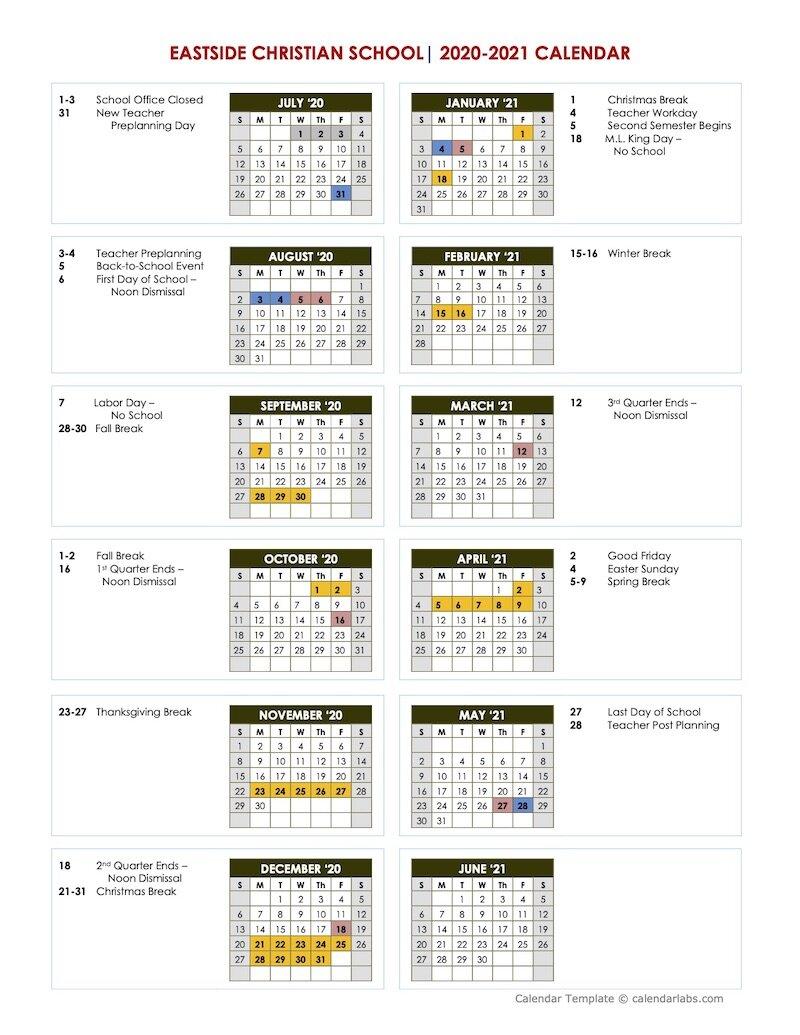 Academic Calendar | Eastside Christian School | East Cobb Within University Of West Georgia Academic Calendar