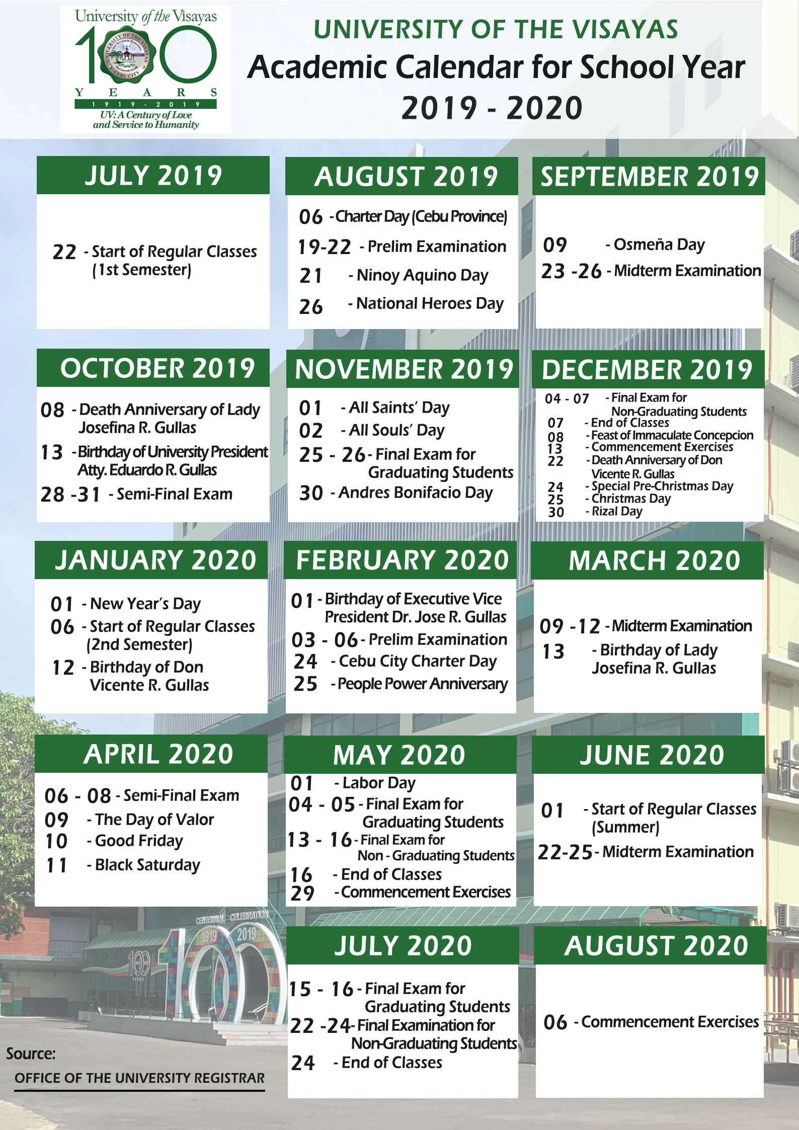Academic Calendar For S.y 2019 – 2020 | University Of The Inside University Toledo Academic Calendar