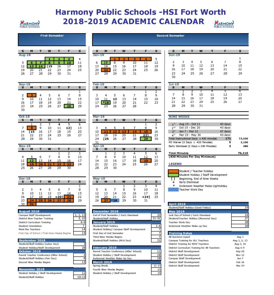 Academic Calendar – Harmony School Of Innovation – Fort Worth With Regard To Collin County Community College District Calendar