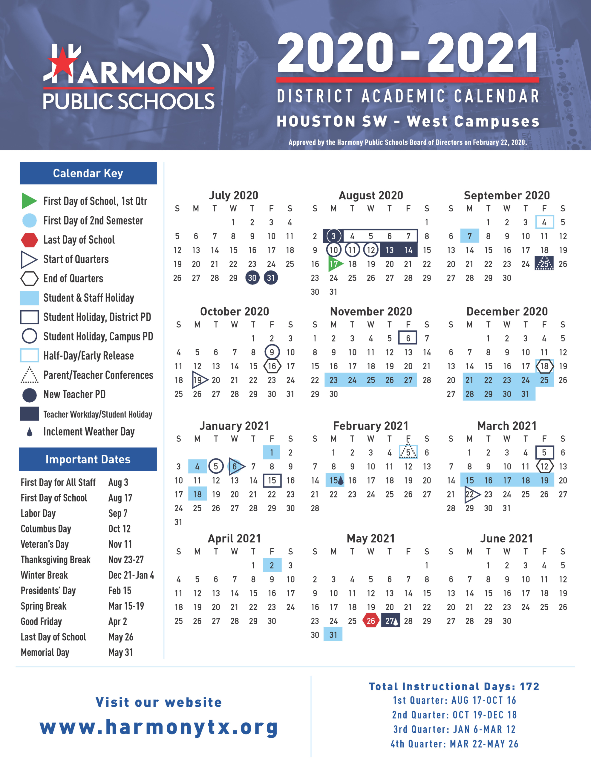 Academic Calendar! – Harmony School Of Innovation – Sugar Land For Sam Houston Academic Calendar