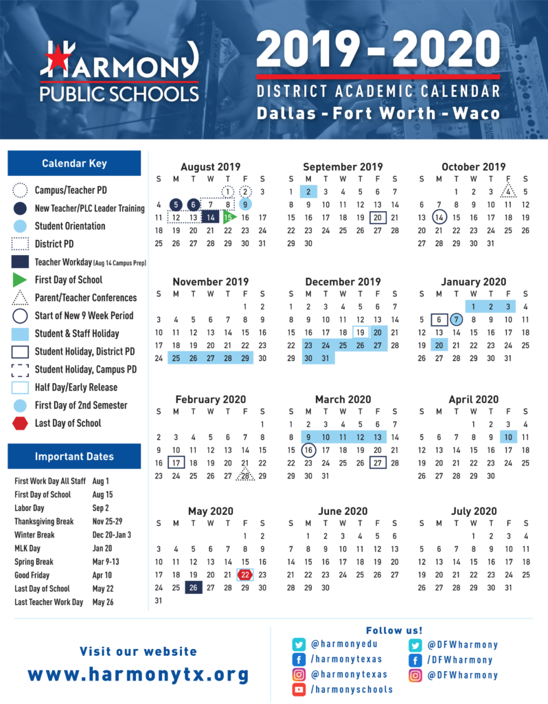 Academic Calendar – Harmony Science Academy – Euless For Collin County Community College District Calendar