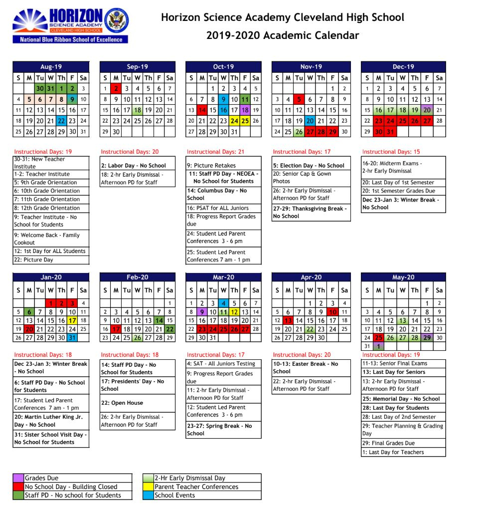 Academic Calendar – Horizon Science Academy Cleveland High For Case Western Reserve University Academic Calendar