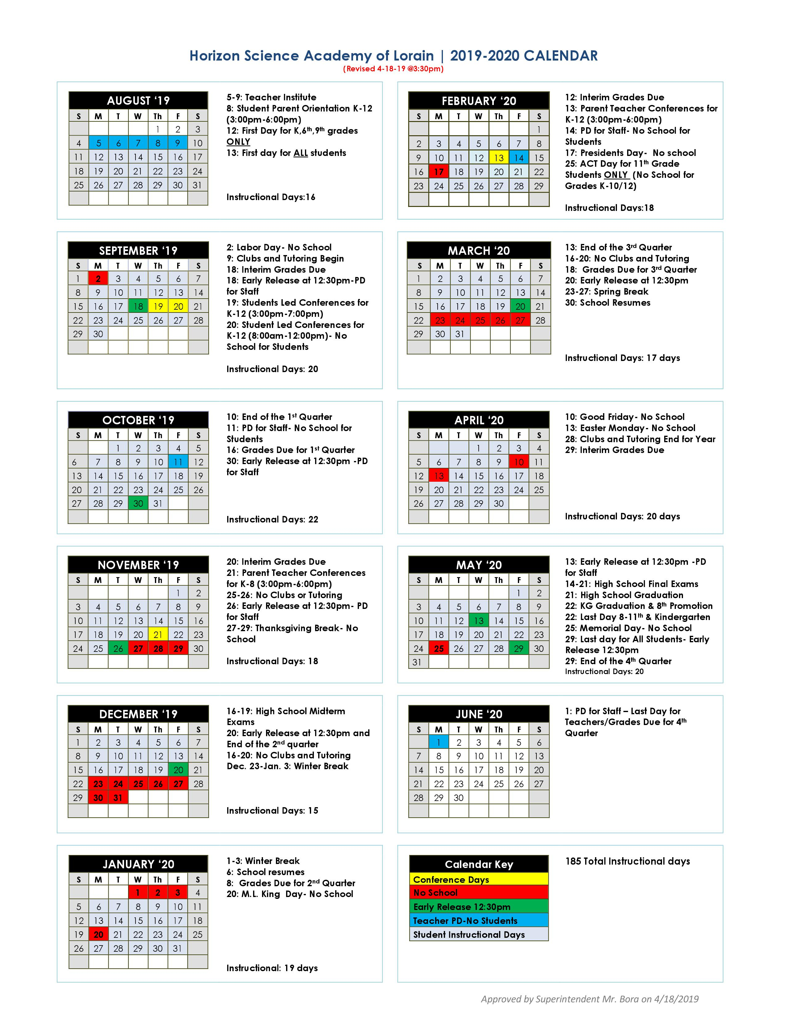 Academic Calendar – Hsa Lorain Charter School (K 12) For University Of Akron Spring 2020 Calendar