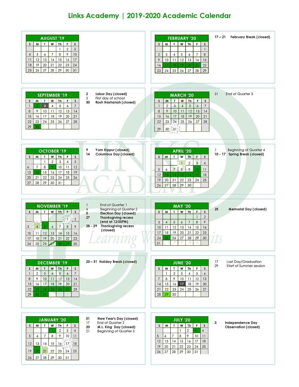 Academic Calendar — Links Academy Within Nassau Cc 19 20 Calendar