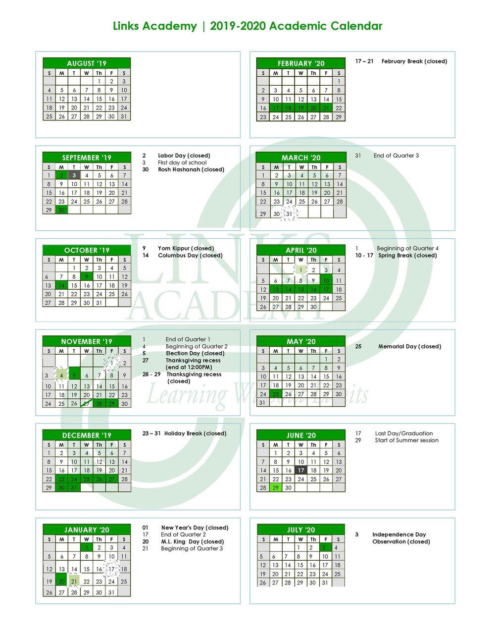 Academic Calendar — Links Academy Within Nassau Cc 19 20 Calendar
