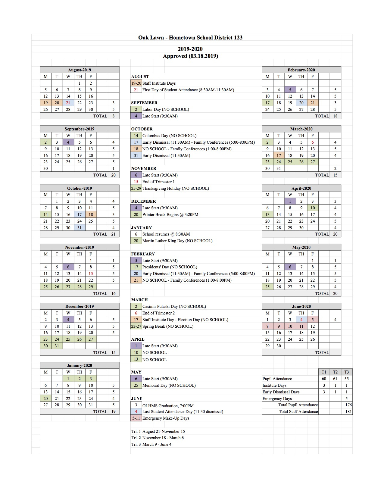 Academic Calendar - Oak Lawn - Hometown School District 123 intended for St Charles Illinois School Calendar