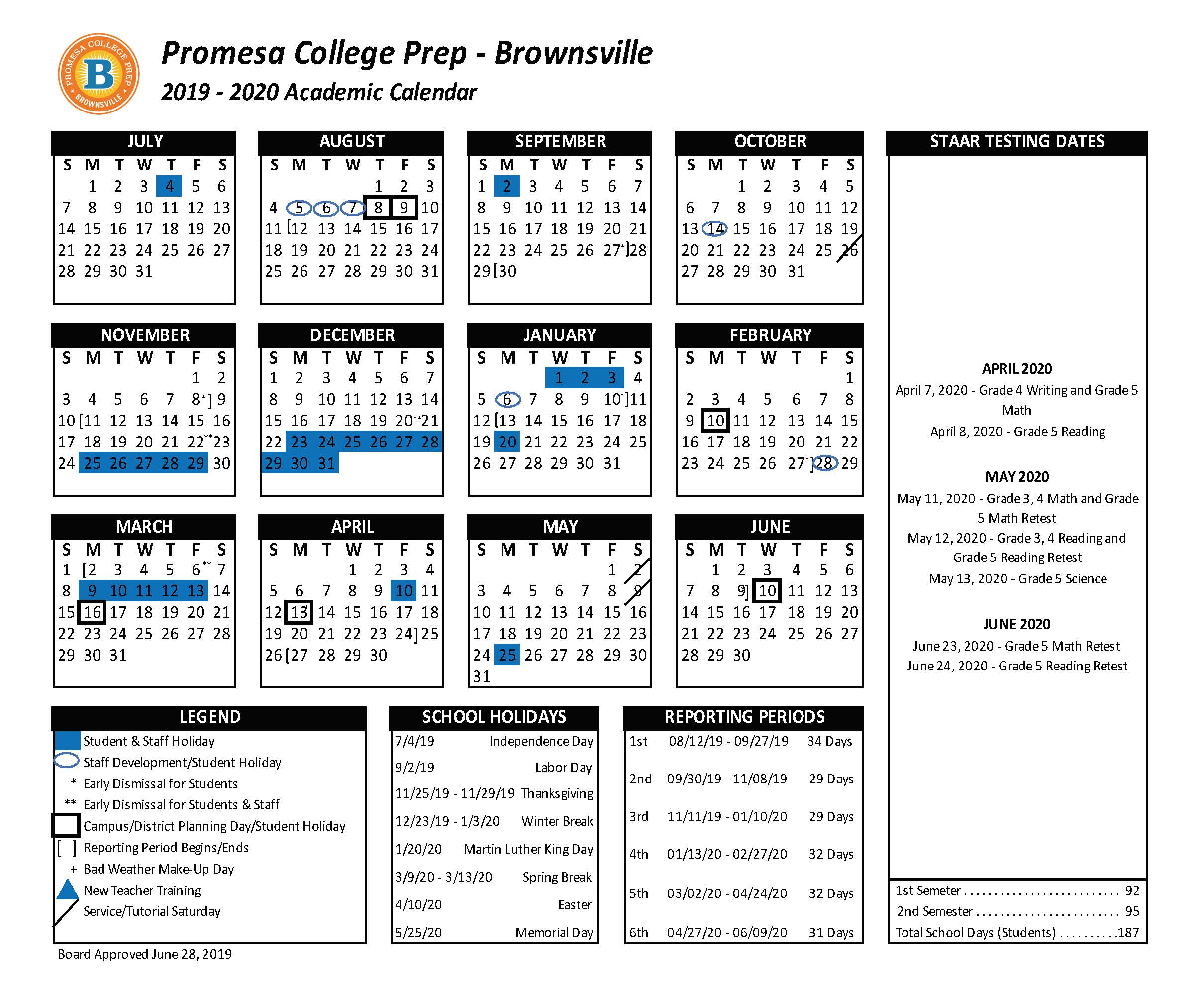 Academic Calendar - Promesa College Prep - Brownsville Throughout Brownsville Tx Isd Calendar
