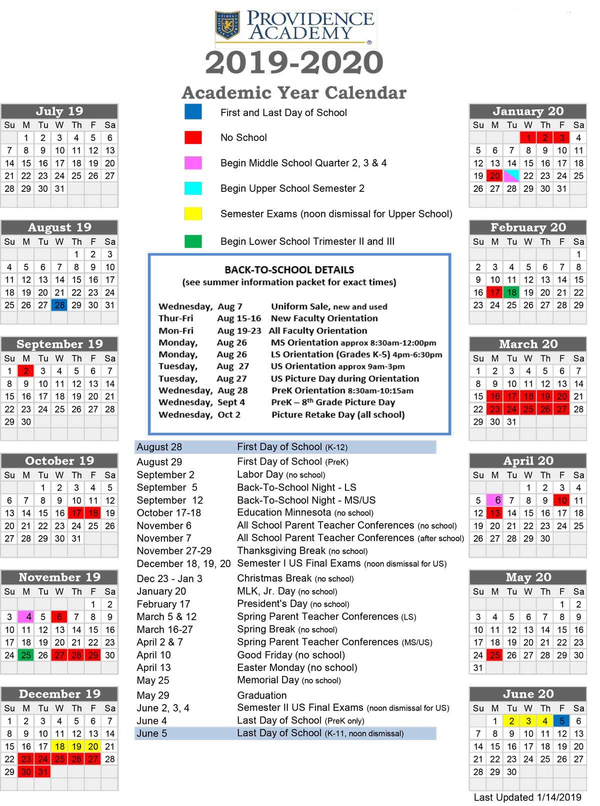Academic Calendar - Providence Academy In University Of Minnesota2020 2021 Academic Calendar