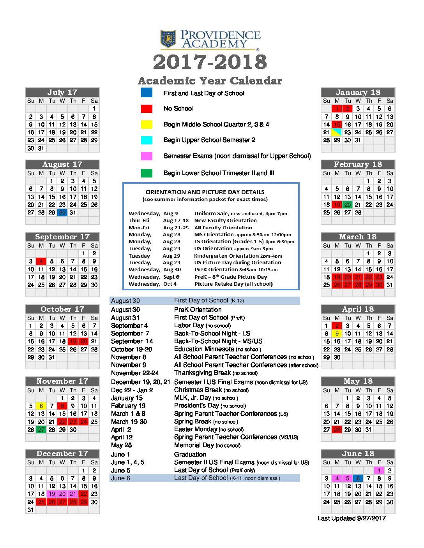 Academic Calendar - Providence Academy Within University Of Minnesota2020 2021 Academic Calendar