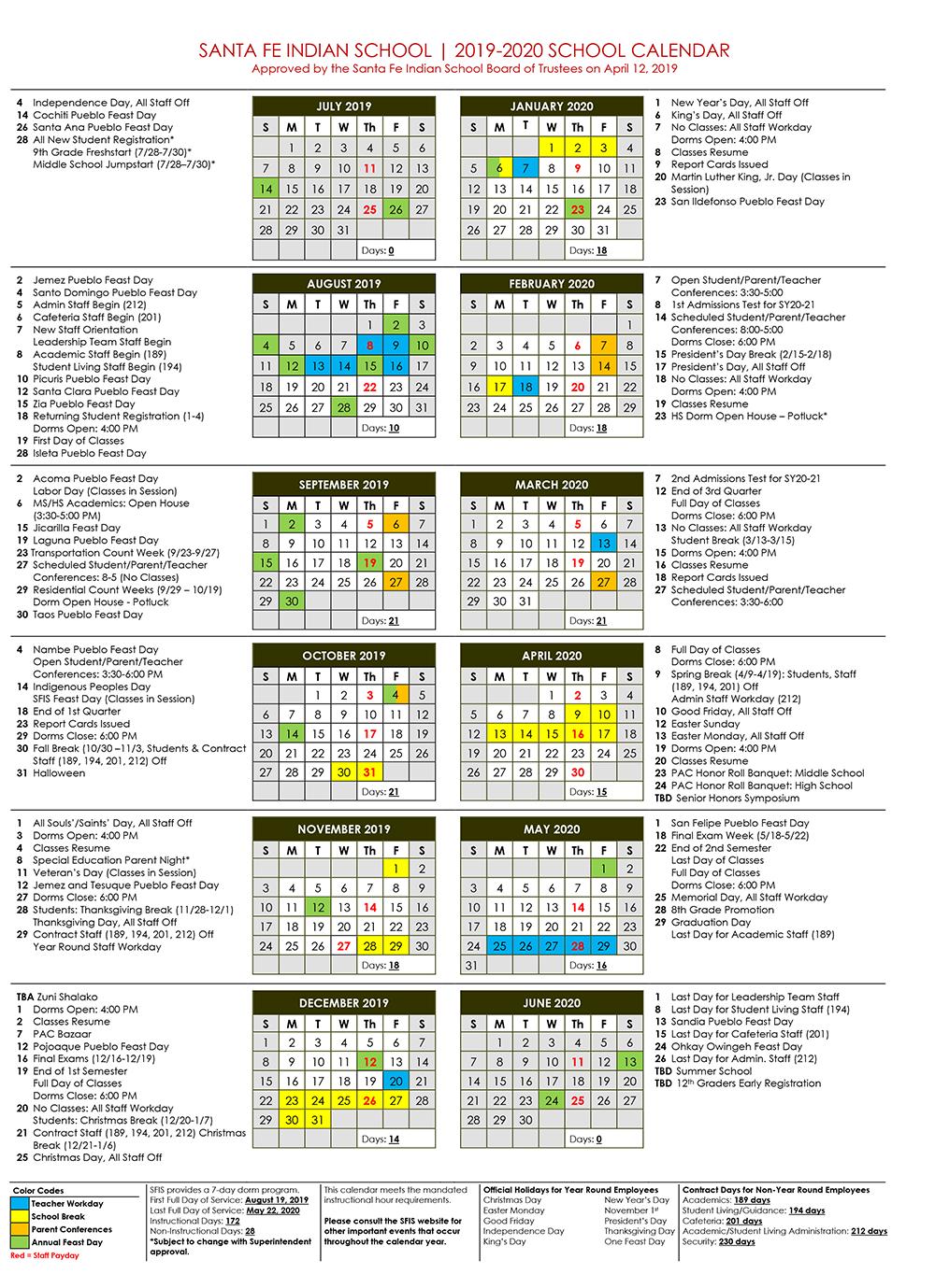 Academic Calendar | Santa Fe Indian School In Santa Fe Public Schools Calendar