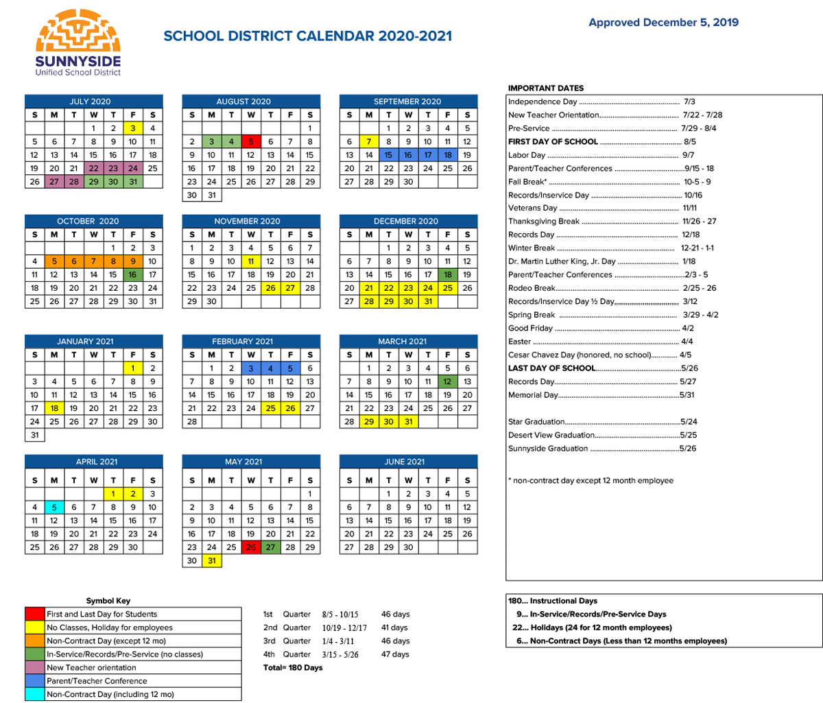 Academic Calendar   Sunnyside Unified School District Inside La Habra High School Year Calendar