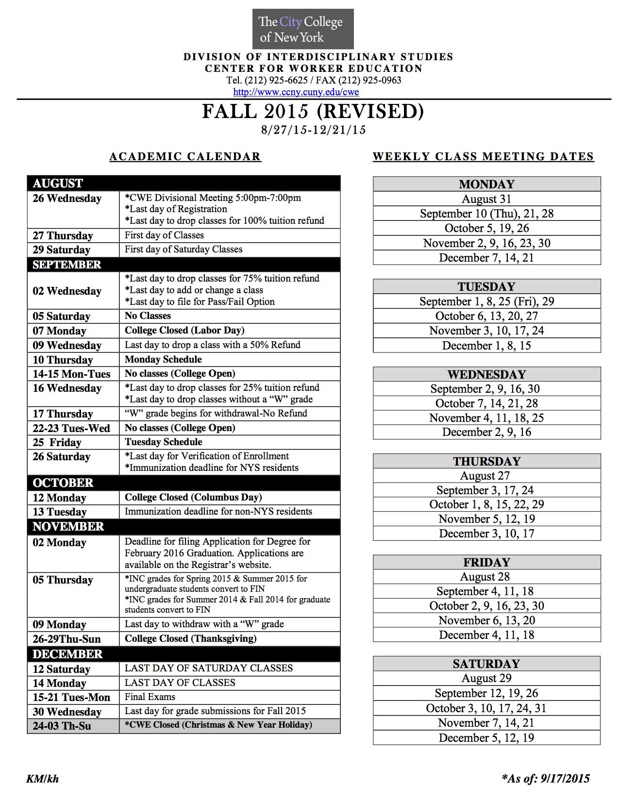 Academic Calendar | The City College Of New York Inside Staten Island College Callendar