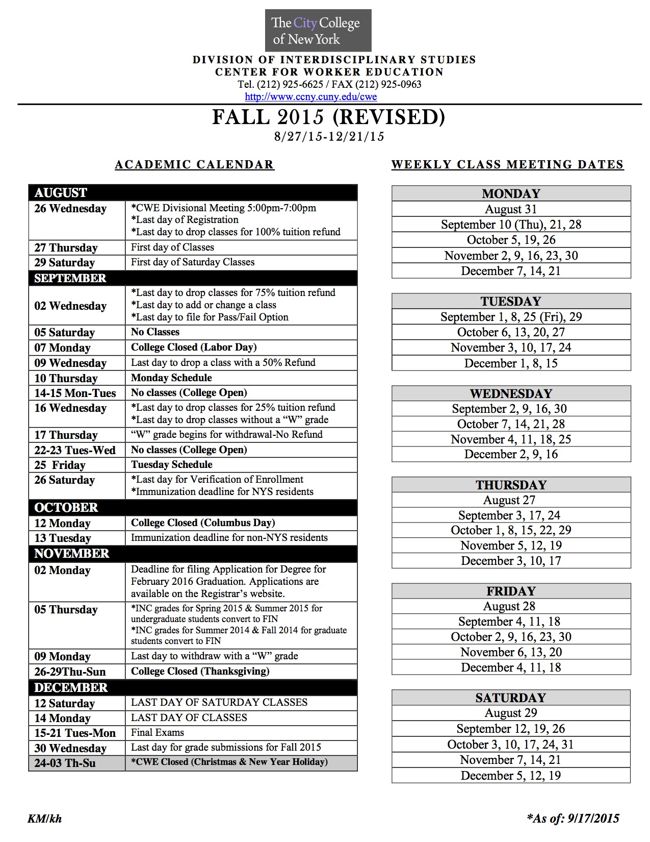 Academic Calendar | The City College Of New York Pertaining To Brookdale Community College Calendar