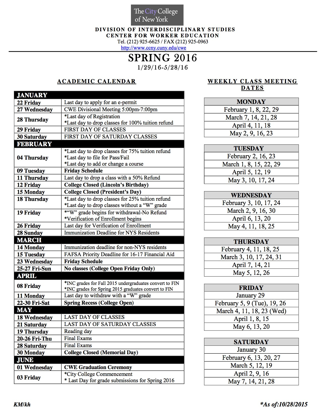 Academic Calendar | The City College Of New York Regarding Staten Island College Callendar
